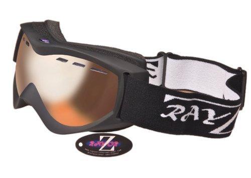 Rayzor Professionele UV400 ski-/snowboardbril, met een mat zwart frame en een anti-condens-coating, ontluchtde helder barnsteen diafragma zicht-lens: