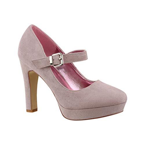 Elara Damen High Heels Spangen Pumps Riemchen Chunkyrayan E22317 Purple-40