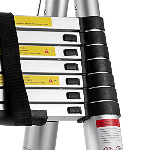 Hihone Telescoping Ladder 16.5feet, Quick Button Retraction Telescopic Extension Ladder Protective Design, 300LBS Capacity Anti-Slip Lightweight, Aluminum Collapsible Ladder with Spring Loaded Locking