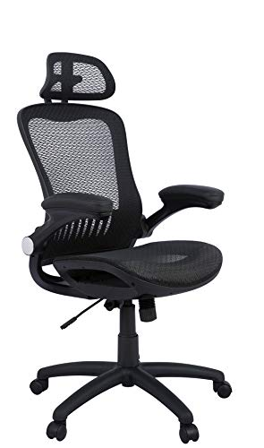 AmazonBasics Adjustable High-Back Mesh Chair with Flip-Up Arms and Head Rest - Black