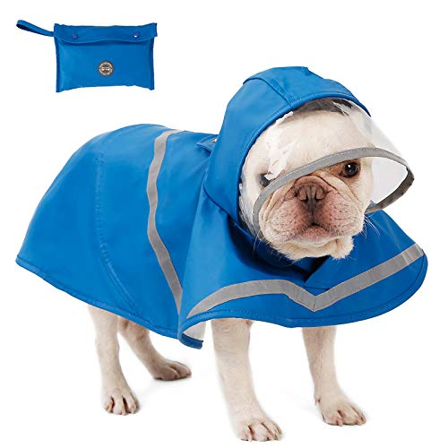 Reflective Dog Raincoat with Hood & Harness Hole for Small Medium Large Dog Puppy, Waterproof Hoodie Rain Jacket Poncho Clothes with Storage Bag,Magic Tape Closure Adjustable, Easy to Use