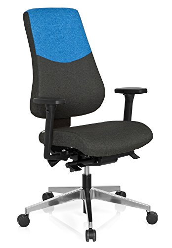 hjh OFFICE 608830 Profi Bürostuhl PRO-TEC 600 Stoff Grau/Blau Drehstuhl ergonomisch, Rückenlehne & Armlehnen verstellbar