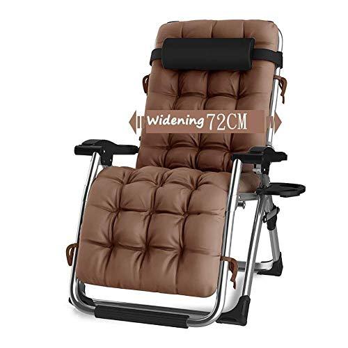 QYDM Liegestuhl Klappbar Relaxsessel, Tragbar Liege Sonnenstuhl mit Armlehnen, Relaxstuhl für Balkon Garten mit Kissen-Unterstützung 440lbs (Brown)
