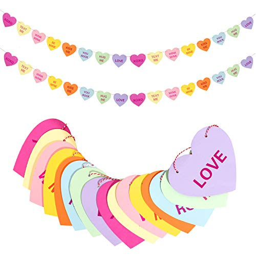 Whaline Valentines Day Heart Banner Garland with 32 Pcs Hearts, 32.8ft Candy Color Heart Garland,Heart Sayings Pre-Strung Banners for Anniversary,Wedding,Birthday Party,Valentines Decor(2 Strings)