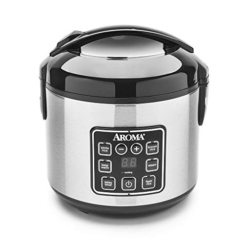 Aroma Housewares 2-8-Cups (Cooked) Digital Cool-Touch Rice Grain Cooker and Food Steamer, Stainless,...