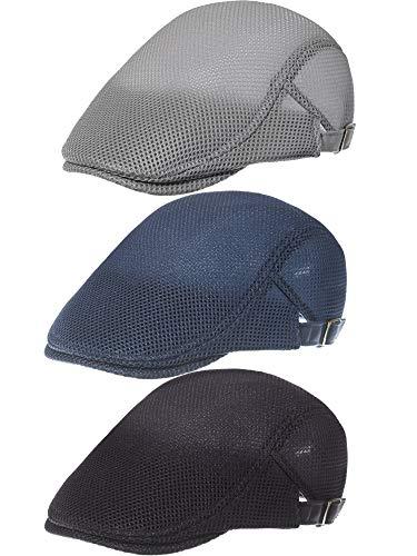 3 Pieces Mesh Newsboy Cap Mesh Breathable Summer Cap Adjustable Newsboy Beret Cap Cabbie Flat Cap (Light Gray, Navy Blue, Black)