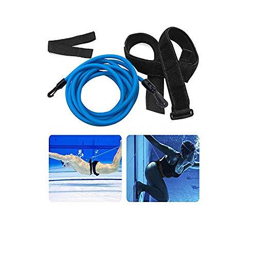GFHF 4M Swim Training Belts & 1 Pair Swiming Earplugs, Swim Training Leash,Swim Tether Stationary Swimming, Swim Harness Static Swimming Belt, Swim Bungee Cords Resistance Bands