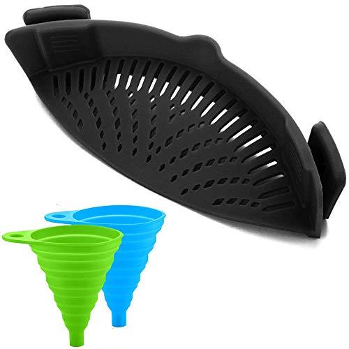 Siliconen Snap Strainer met 2 Inklapbare Funnels, HandsFree Clip-on Hittebestendige Vergiet Tuit voor Pasta Plantaardige Noedels Pot Bowl Pan - Zwart