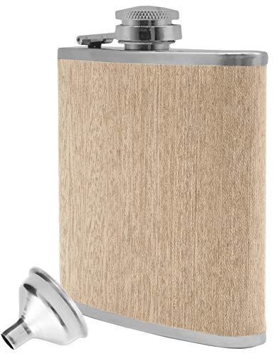 Outdoor Saxx® - Edelstahl Flachmann Wood im Holz-Design, hochwertige Taschen-Flasche, Schnaps-Flasche, Flagon, Schraub-Verschluss, Tolle Geschenk-Idee 175 ml, Holz-Design Ahorn