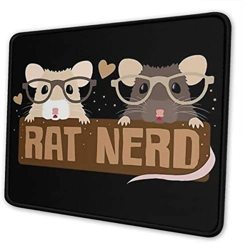 RONGHUA Rat Nerd Mouse Pad Non-Slip Gaming Mouse Pad with Stitched Edge Computer PC Mousepad Rubber Base for Office Home