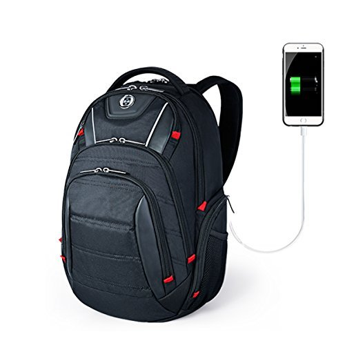 SwissDigital Circuit Men's Laptop Backpack for College and Business Travel with Integrated USB Charging Port and RFID Protection Fits Laptops up to 15.6 in, Black (J14-BR)