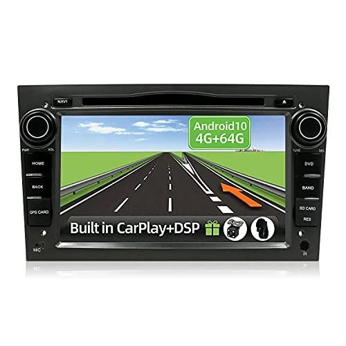 YUNTX Android 10 2 Din Autoradio per Opel Astra/Corsa/Zafira/Meriva-4G+64G-[Integrato CarPlay/Android auto/DSP]- Gratuiti LED Camera&MIC&Canbus -Support DAB/Controllo del Volante/360 Camera/MirrorLink