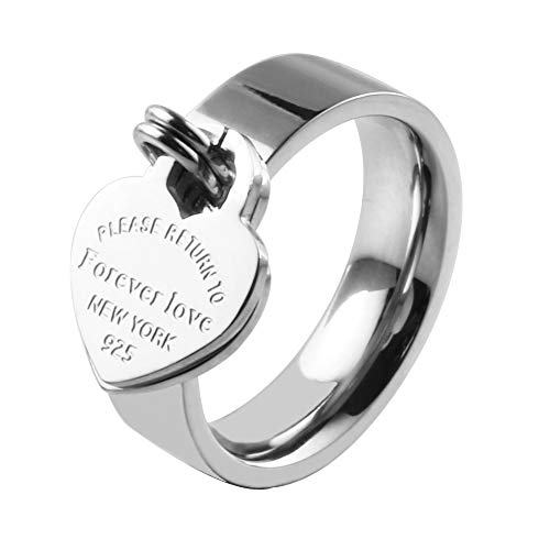 ❤Valentine's Day Gift❤ JINHUI Jewelry Silver Color Forever Love Ring With Engraved Heart Charm Jewelry For Women Size 7#, 8#, 9#,10# (Silver 8)
