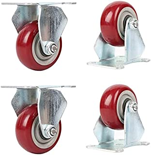 Caster 4 Pieces 3 Inches 4 Inches 5 Inches Furniture Wheel,Castor Wheels,Heavy Polyurethane Trolley Castors,Suitable for H...