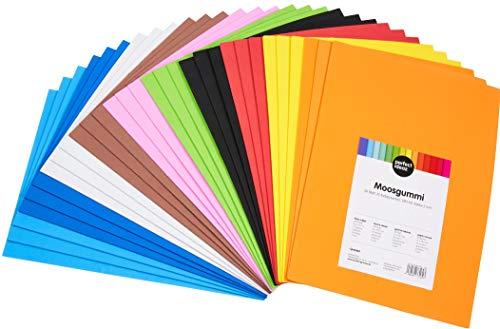 perfect ideaz 30 Blatt DIN-A4 Moos-Gummi bunt, Schaumstoff-Platten in 10 verschiedenen Farben, 2 mm Dicke, buntes Schaum-Gummi farbig, Foam-Set zum Basteln, DIY-Bedarf, Moosgummi-Matte für Kinder