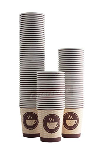 100 Disposable Paper Cups | Ideal for Coffee, Tea, Hot or Cold Drinks | 8 Ounce - 228ml