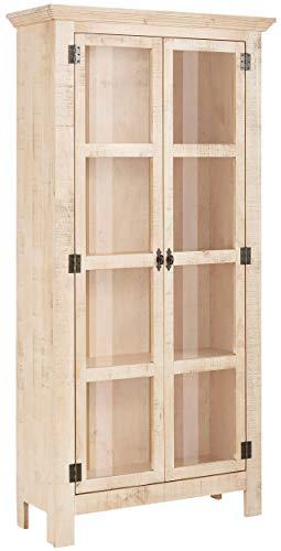 Loft 24 A/S Große Vitrine Vitrinenschrank Standvitrine Vintage Design Kiefer Massivholz Landhaus Shabby Chic (weiß-Natur, 2 Türen, 90 x 35 x 180 cm)