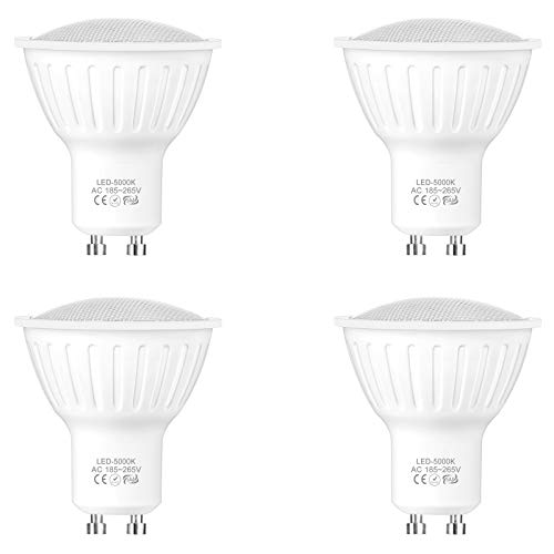 WELLHOME GU10 LED Kaltweiss Lampen, Dimmbar LED Strahler Birnen 5W ersetzt 50W Halogen, 5000K 120° Reflektor Leuchtmittel Glühbirne 500 Lumens 230V, 4er-Pack
