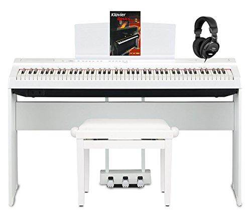 Yamaha P-125WH Stage Piano Komplettset (88 anschlagdynamische Tasten auf (GHS) Tastatur, Set inkl. passendem Yamaha Homeständer & 3er Pedaleinheit, Pianobank, Kopfhörer & Klavierbasics) Weiß
