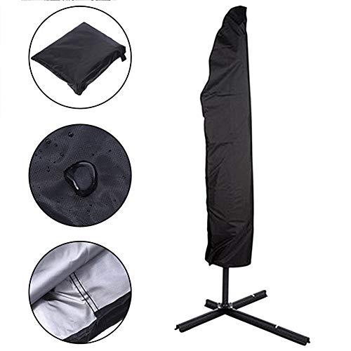 Parasol Cover, Parasol Protective Cover 210D Oxford Cloth Umbrella Cover Outdoor Umbrella Cover with Zipper and Tie, Weatherproof, UV-Anti