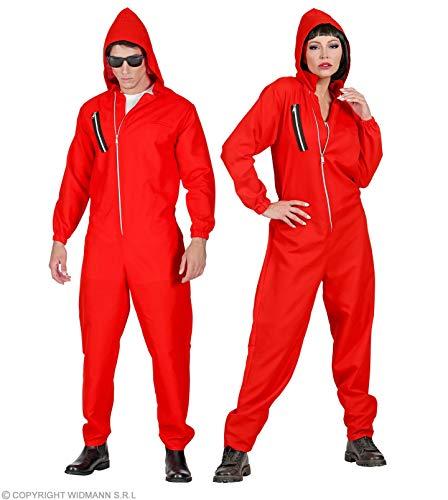 Takers Faschingskostüme - Roter Overall mit Kapuze Gr. S bis XXL Mann und Frau - Bankräuber Kostüm (Gr. M - 170-175 cm)