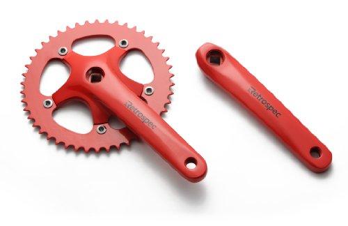 Retrospec Cycles Fixed-Gear Crank Single-Speed bicicleta de ruta Forged Crankset, Red, 44T