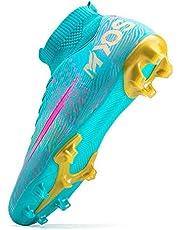 HongHe Tacos de fútbol Zapatos Botas de fútbol Tacos Calcetines Altos Amortiguador de Choque para Exteriores, Tacos de fútbol para niños y jóvenes, Zapatos de fútbol para niños y niñas