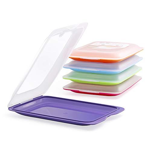 PracticFood - Set mit 5 Wurst- und Lebensmittelträgern Fresh-System, optimale Aufbewahrung von Scheiben im Kühlschrank, Maße 17 x 3.2 x 25.2 cm. 5 Farben