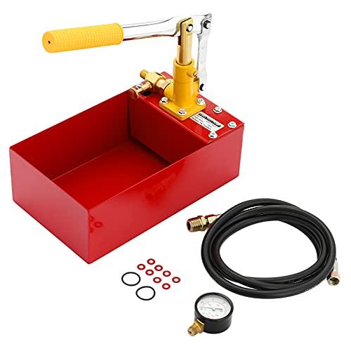 5 Liter Hydraulische Prüfpumpe, 3 MPa/450 psi Abdrückpumpe, Befüllpumpe für Solar und Heizung, Rot Edelstahl Druckprüfpumpe mit 18m Hochdruckschlauch, 1/2