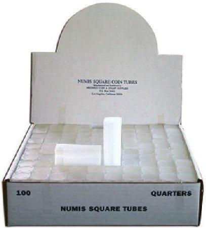 Quarter Square Coin Tube Storage, Numis Brand, 24.3mm, 5 pack