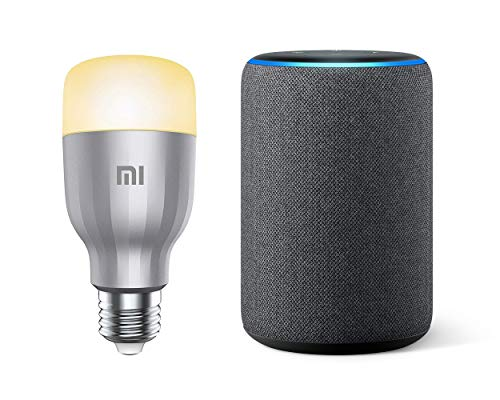 Xiaomi Mi LED Smart Bulb White And Color Kit da 2 Lampadine, WiFi, [Versione Italiana] E27, 10 W + Amazon Echo (3ª generazione) - Altoparlante intelligente con Alexa - Tessuto antracite