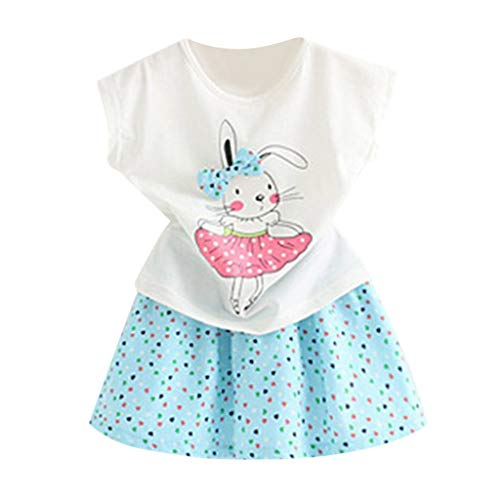 Challeng_Children Toddler Kids Tenues BéBé Fille VêTements Cartoon Rabbit T-Shirts Tops + Jupe à Pois, Nouveaux VêTements d'automne pour Enfants, VêTements pour Enfants dans Le Grand Costume DéContr