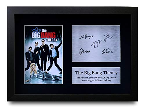 HWC Trading The Big Bang Theory A4 Gerahmte Signiert Gedruckt Autogramme Bild Druck-Fotoanzeige Geschenk Für Jim Parsons Johnny Galecki Kaley Cuoco Kunal Nayyar Simon Helberg Tv-Show-Fans