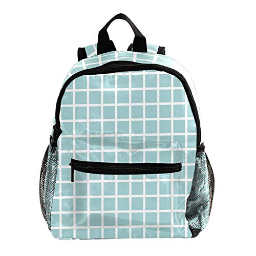 School Backpack Kids Schoolbag Student Bookbag,Turquoise Grid Plaid Pattern