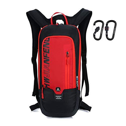 Yovanpur Sac à dos de cyclisme pour homme, imperméable et respirant, 10 L, ultraléger, mini sac de sport pour le fitness, la course, la randonnée, le camping, l'escalade, le ski, le trekking avec 2 porte-clés mousquetons de verrouillage, Sports, bike backpack, Rouge