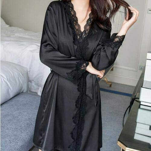 3XL Frauen Seide Satin Langer Bademantel Hochzeit Braut Spitze Robe Kimono Robe Sexy Feminino Bad Nacht Robe Plus Size Peignoir Femme-Black-1-XS