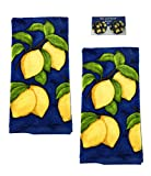 Lemon Kitchen Towels and Matching Fridge Magnets