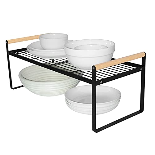 Estantería de cocina organizadora, estantería para especias, hierro y mango de madera, adecuado para el hogar, cocina y armario de cocina, color negro (51 x 21 x 20)