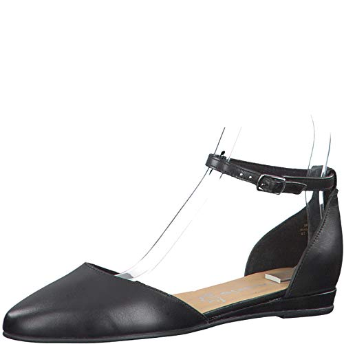 Tamaris Damen Ballerinas 24231-24, Frauen Sling-Ballerinas, weibliche Lady Ladies feminin elegant Women's Women Woman,Black Leather,37 EU / 4 UK