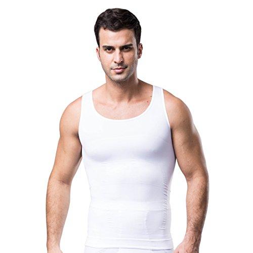 ZEROBODYS Figurformendes ärmelloses Herren-T-Shirt SS-M11 (M, Weiß)