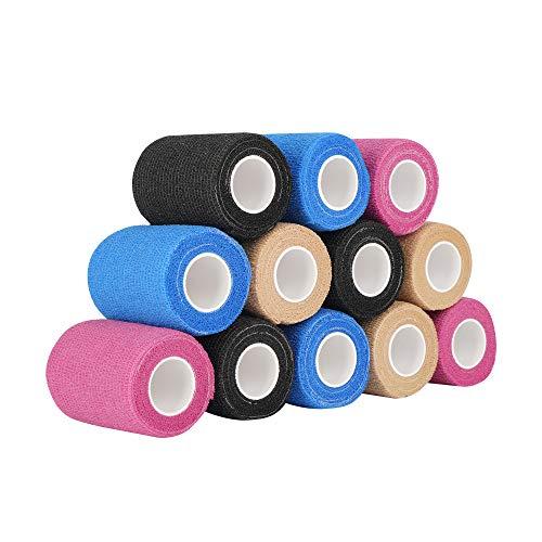 12 Rollen Selbstklebender Verband Fixierbinde Selbsthaftend 7.5 cm x 4.5 m Sortierte Farben (Blau, Beige, Schwarz, Pink)