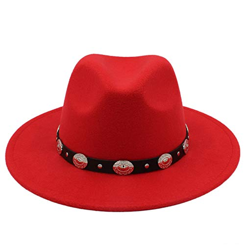 Cicongzai Unisex Wol Jazz Hats Mens Fedora Hat Hot Koop Goedkope Vrouwen vilthoed Cowboy Hoeden van Panama for vrouwen Derby fedora (Color : Red, Size : 56-58cm)