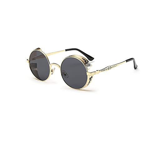 YOOSUN Sunglasses Vintage Retro Metal Round Circle Frame womens mens Sunglasses 1099 (BLACK)