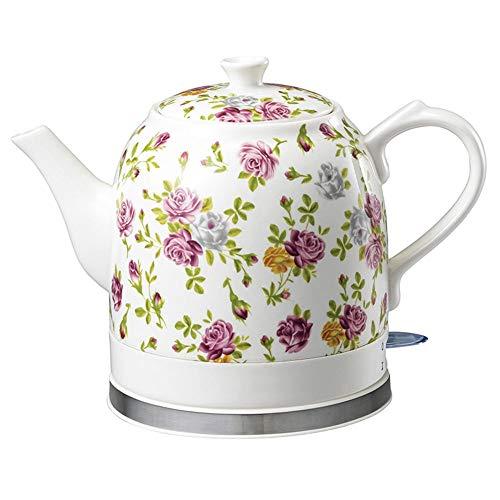 VKFX Kettles - Electric Ceramic Cordless White Kettle Teapot - Retro 1.2L Jug, 1200W Boils Water Fast for Tea, Coffee, Soup, Oatmeal - Removable Base, Boil Dry Protection