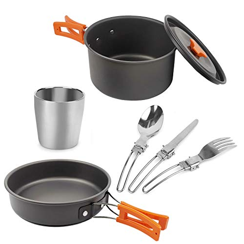 WSCQ Set de Utensilios de Cocina Camping, Kit de Utensilios de Cocina con Taza de Agua de Acero Inoxidable Aluminio Ligero Juego de Cocina de Olla para Picnic Barbacoa,Naranja
