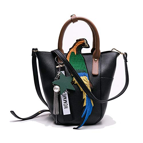 Minishion Leather Satchel Handbag Bird Pattern Casual Shoulder Tote Bag Black