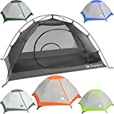 2 Person Backpacking Tent with Footprint - Lightweight Yosemite Two Man 3 Season Ultralight, Waterproof, Ultra Compact 2p Freestanding Backpack Tents for Camping and Hiking, Hyke & Byke (Forest Green)