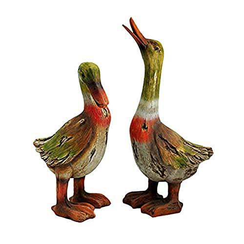 Cakunmik 2 PCS Gartendeko Tierfigur Teichfigur Entenfamilie Happy Huhn Ente Family Ornamente Dekofigur Skulptur Für Garten Balkon Hochzeit Deko,Garten Tiermöbel,B
