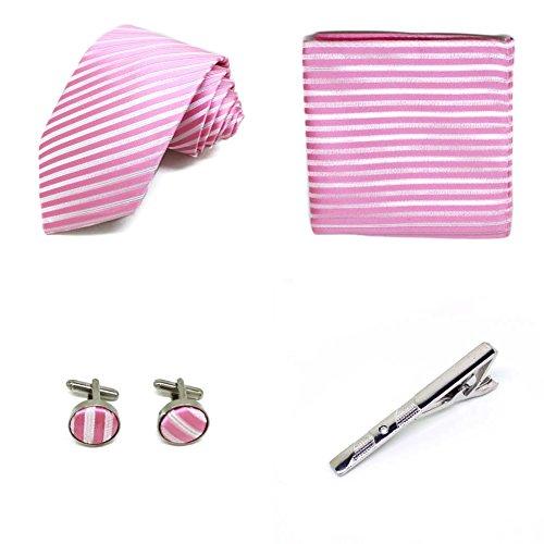 S.R HOME Ensemble cravate pour homme (avec boutons de manchette cravate mouchoir) et coffret cadeau (Rose)