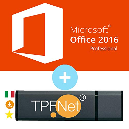 MS Office 2016 Professional Plus 32 bit & 64 bit - Licenza Originale con una Chiavetta USB di TPFNet